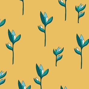 Birds of paradise flower rain forest jungle plants aqua blue ochre yellow boys