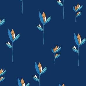 Birds of paradise flower rain forest jungle plants blue navy copper boys