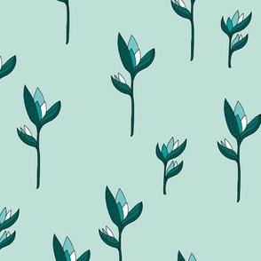 Birds of paradise flower rain forest jungle plants mint green gender neutral