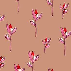 Birds of paradise flower rain forest jungle plants caramel pink