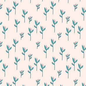 Birds of paradise flower rain forest jungle plants off white pink blue girls SMALL