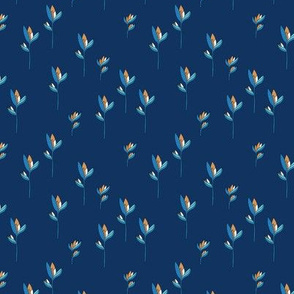 Birds of paradise flower rain forest jungle plants blue navy copper boys SMALL