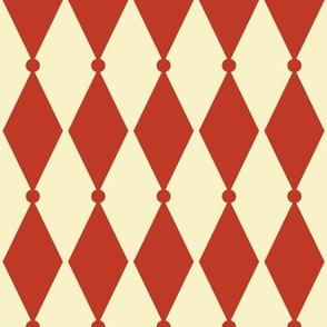 Diamond Dot - Vintage Red, Cream