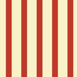 Stripes - Cream,  Vintage Red
