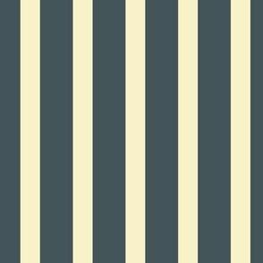 Stripes - Vintage Charcoal Blue. Cream