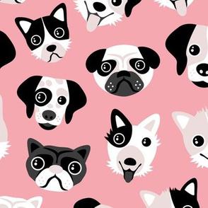 Little puppy friends dog illustration design  pink
