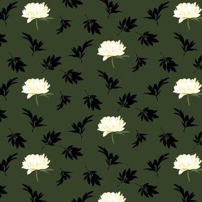 white peonies on dark green