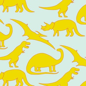 dinosaurs in yellow on mint