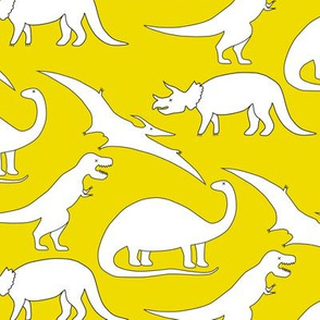 dinosaurs in white on mustard yellow