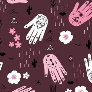 Boho hamsa western desert flowers and mountains modern icons pink white aubergine