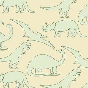 dinosaurs in mint on light yellow
