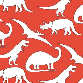 dinosaurs black and white on coral red