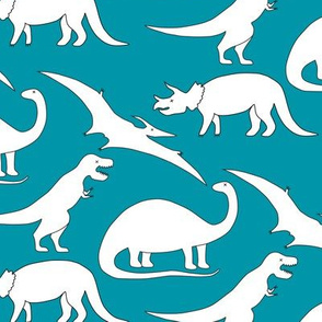 dinosaurs black and white on blue