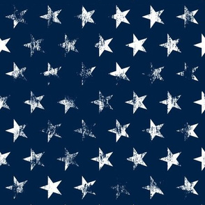 Medium Rotated Distressed White Stars on Navy Blue (Grunge Vintage 4th of July American Flag Stars)