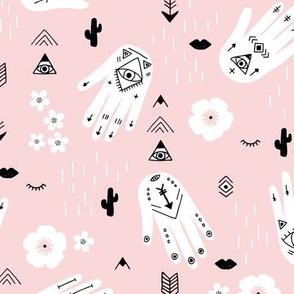 Boho hamsa western desert flowers and mountains modern icons pastel pink