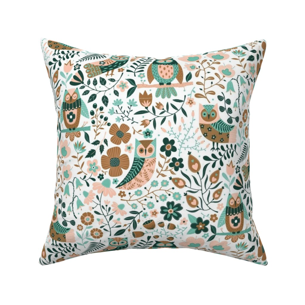 Catalan Throw Pillow featuring Owls limited palette by suzytaylordesigns