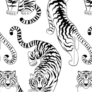 tigers line art (large scale)