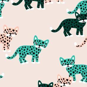 Sweet little wild cat tiger jungle summer peach green mint