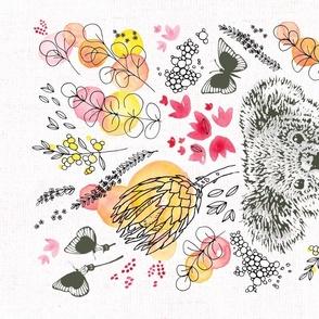 Koala Floral Tea Towel