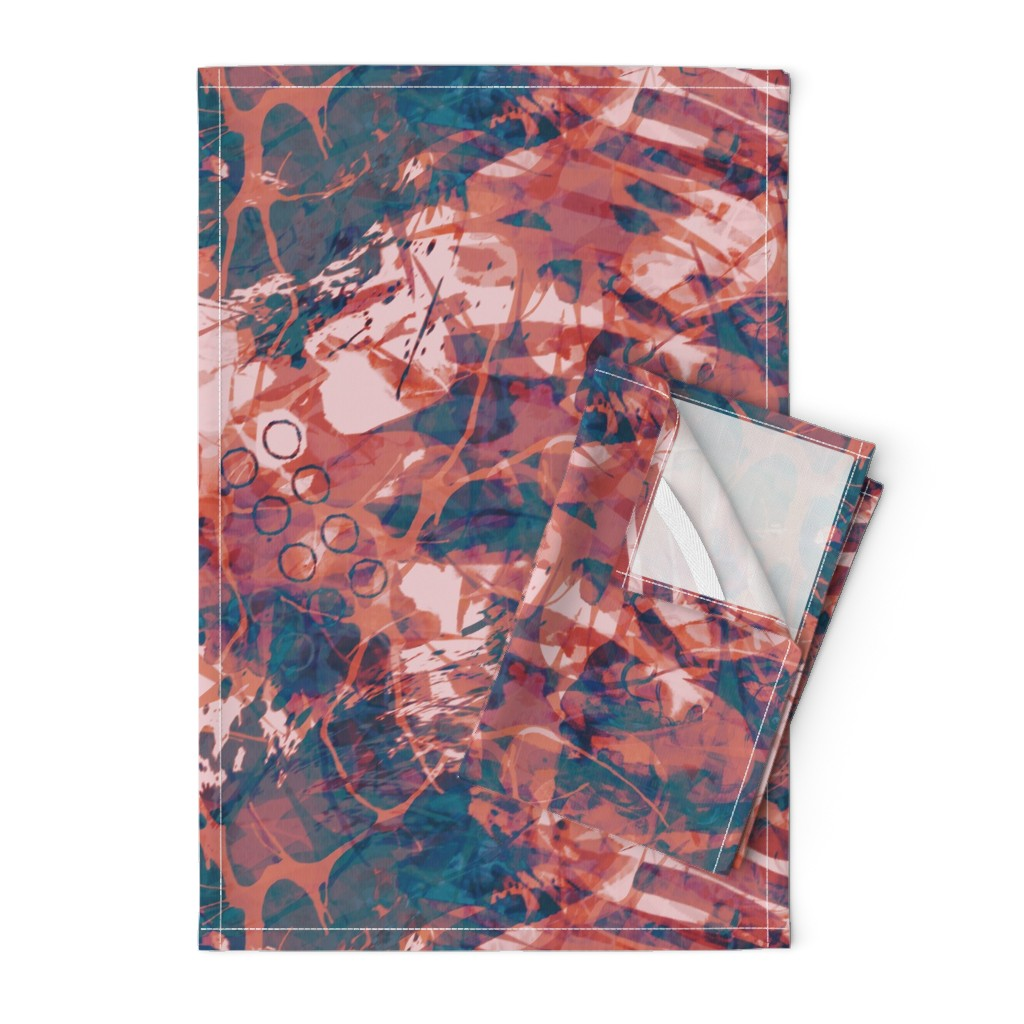 Orpington Tea Towels featuring abstract_ink-copper-rust by wren_leyland