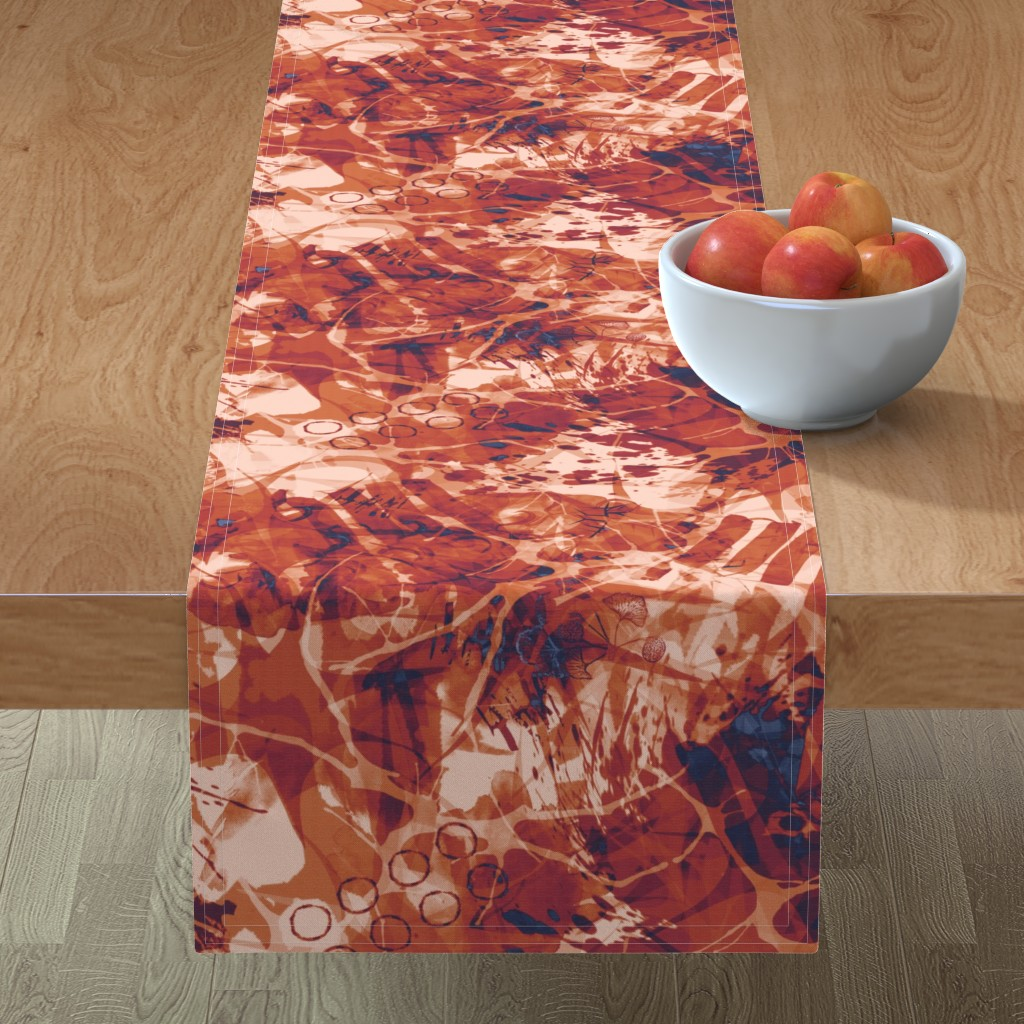 Minorca Table Runner featuring abstract_terracotta-rust by wren_leyland