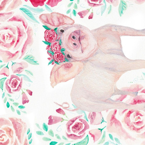 Floral Piggy Tea Towel