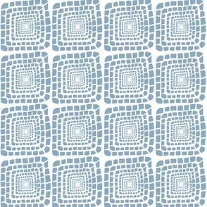 Bohemian Sandcastles: Light Blue on White , Medium scale