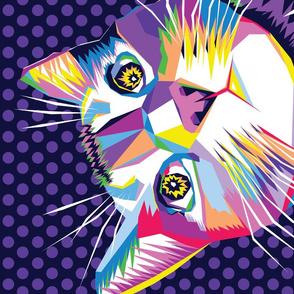 geo cat portrait popart