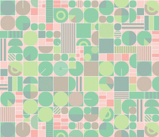 Flyover Country* (Pastel) || birds eye view aerial overhead garden farm farmland midwest America nature geometric abstract stripes circles mint living coral farming