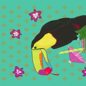 Happy Hour Tiki Toucan Tea Towel