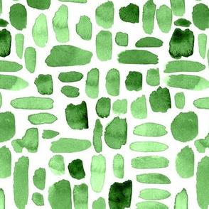 Watercolor Paint Brush Strokes - Green