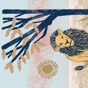 Lion Block Print, Tea Towel