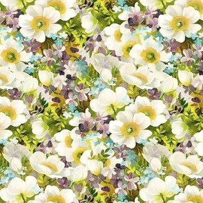 Monet Like Spring Floral Pattern White Purple