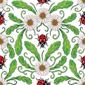 Ladybugs & Daisies - Cute Floral Bug Pattern w/ Ladybirds