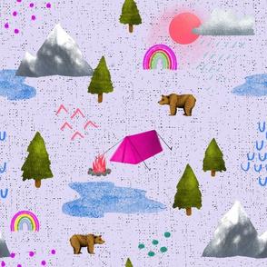 Happy Camper - Pink on Purple