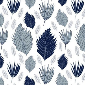 Stencil Leaves in Navy and Gray