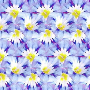 Abstract Watercolor Morning Glory Blue Purple Floral