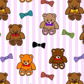 Brownie the Bear & Friends LOVE Bow Ties - pink candy stripes (small)