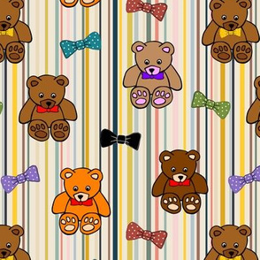 Brownie the Bear & Friends LOVE Bow Ties - on trend stripes (small)