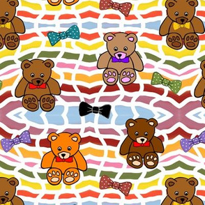 Brownie the Bear & Friends LOVE Bow Ties - basket weave (small)