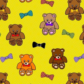 Brownie the Bear & Friends LOVE Bow Ties - marigold spots (small)