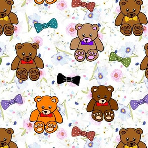 Brownie the Bear & Friends LOVE Bow Ties - pretty floral (small)