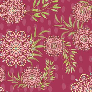 Mandala Flower in dark pink