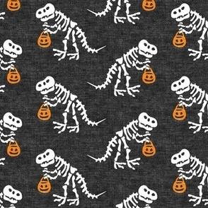 Trick or Treating Skeleton Trex - grey - halloween - LAD19