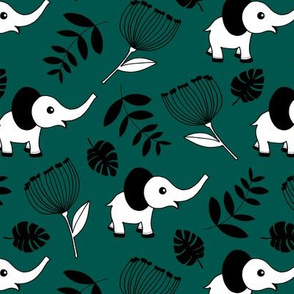 Little elephant jungle garden botanical leaves and flowers winter forest green