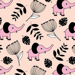 Little elephant jungle garden botanical leaves and flowers fall pink girls