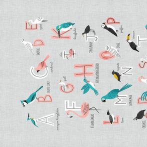 Bird alphabet tea towel in grey