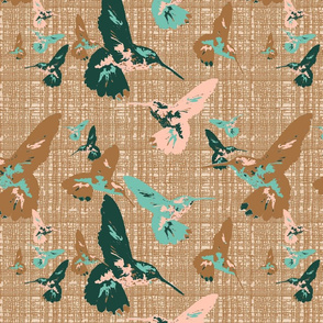 Hummingbirds on Bronze Texture
