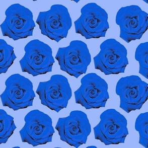Pop Art Roses in Blue Floral Pattern