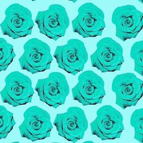 Aqua Blue Pop Art Rose Pattern